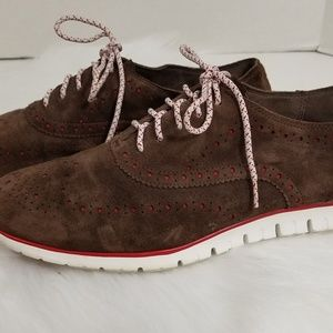 Cole Haan Zerogrand Brown Suede Wingtip Oxford